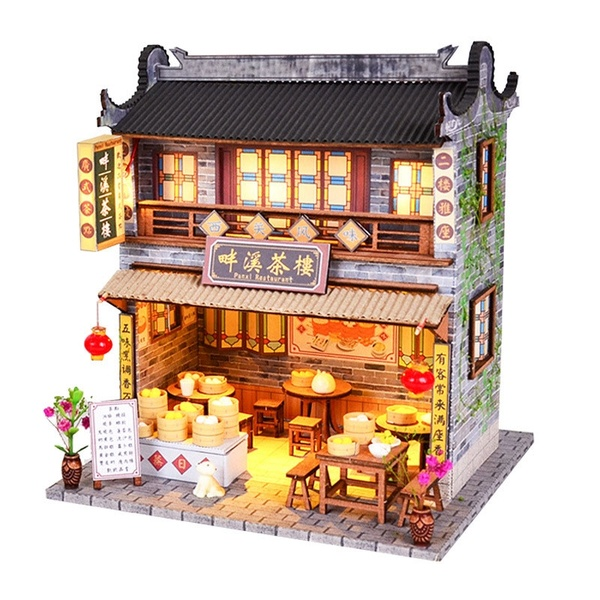 DIY Wooden Dollhouse With Furniture LED Light Kits Miniature Chinese Teahouse Building Model Puzzle Toy Festival Gift