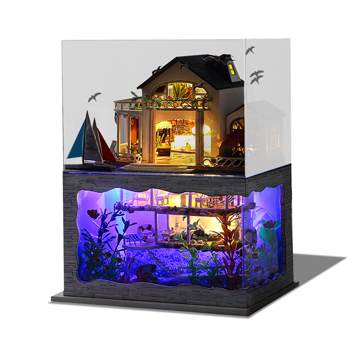 Wooden DIY Handmade Assemble Double Layer Beautiful View Doll House Miniature Furniture Kit Education Toy for for Collection Birthday Gift
